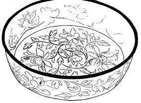 花與枝葉圖案的盆黑白矢量圖