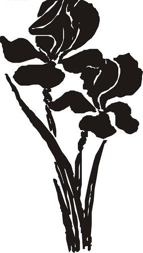 兩株花朵黑白矢量圖
