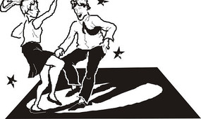 黑白卡通畫跳舞的男女