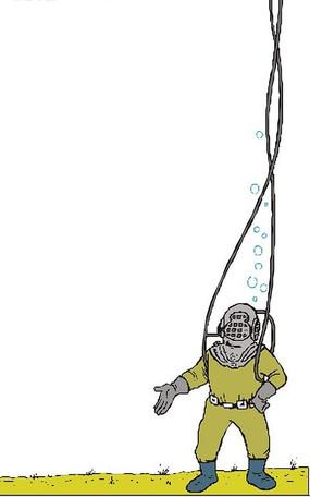 海底潜水员插画