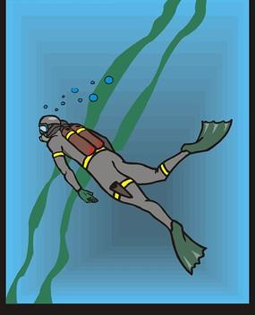 手绘穿着灰色潜水衣的潜水员