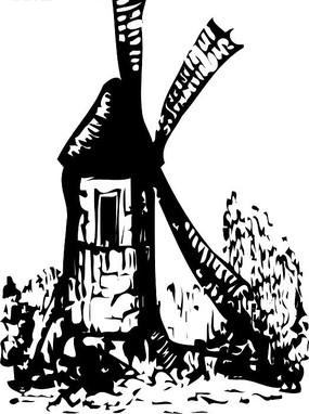 手繪黑白卡通風車矢量