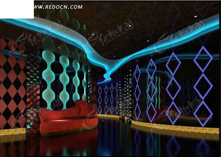 豪华KTV过厅效果图3D模板素材图片