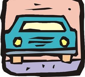 粉红色方形里的蓝色小汽车矢量图