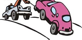 吊车后拉着一台玫瑰色小汽车矢量图