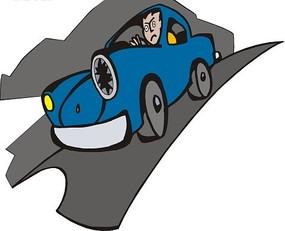 公路上行驶的蓝色小汽车矢量图