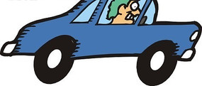 一部蓝色小汽车矢量图