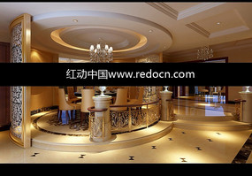 地臺抬高的歐式圓餐廳3D模型