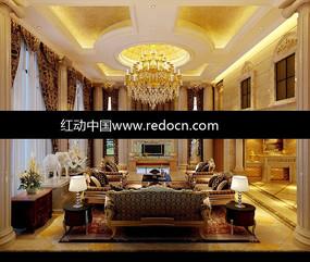 歐式金箔吊頂奢華客廳3dmax模型