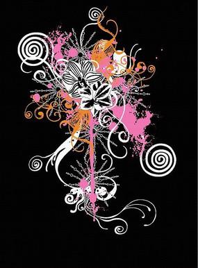 粉色白色和橙色花纹矢量图