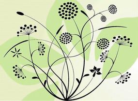 绿色花瓣上的黑色植物花纹矢量图