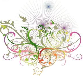 射线上彩色的花纹矢量图