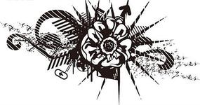 花朵和卷曲紋以及線條構成的黑白矢量圖