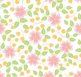 精美小花朵绿叶花纹背景