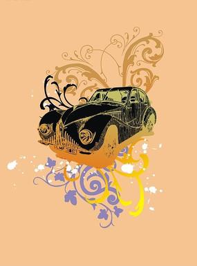 花纹上的黑色汽车矢量图