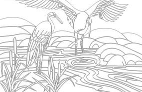 水塘里的仙鹤线稿设计模版