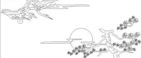 仙鹤松树线稿设计模版