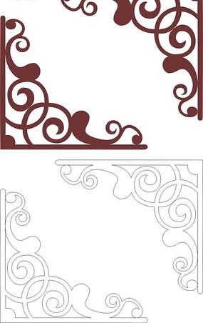 咖啡色对称的边角花纹矢量图