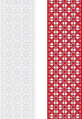 紅色簡單中式花與線條組合鏤空花紋圖案