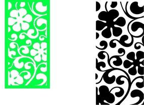 绿色和黑色镂空花纹矢量图