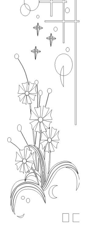 單色線條畫多瓣花朵與十字幾何圖案hpgl格式