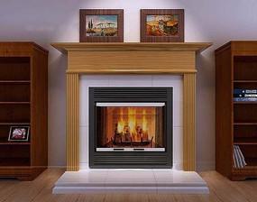 木饰面罗马柱装饰在燃烧的壁炉3dmax模型