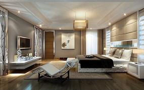豪华时尚现代卧室装饰设计效果图模板素材