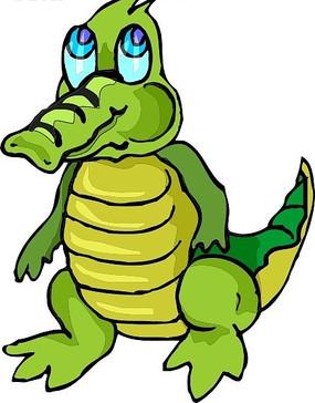 卡通画一只可爱的小鳄鱼