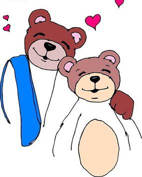 手绘两只可爱的小熊