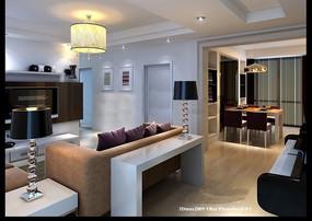 照片级现代简约客厅急餐厅3dmax模型