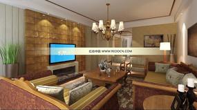 中式客厅装修设计3d模版效果图