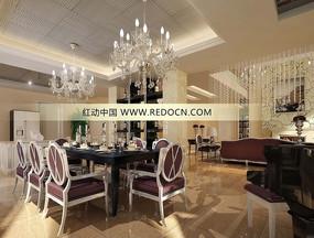 英式奢華餐廳3dmax模型