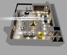 服飾展柜鳥瞰效果圖設計