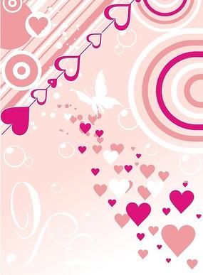 可爱的粉色心形和圆圈