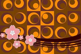 粉色花朵棕色曲线圆形和方形底纹AI素材