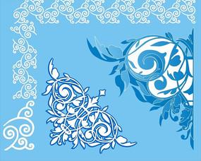 蓝色背景上的白色和蓝色对称花纹矢量图