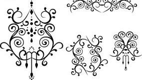 黑色对称花纹和古典花纹矢量图