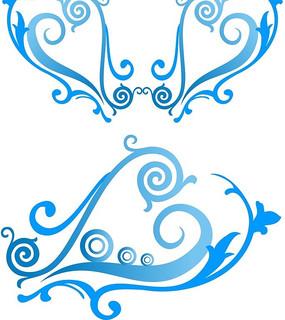 蓝色精美的花纹矢量图
