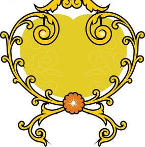 土黄色心形上的黄色对称花纹矢量图