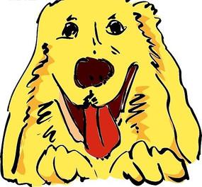 伸着舌头的黄色小狗手绘头像