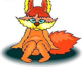 卡通画坐在地上的可爱的小狐狸