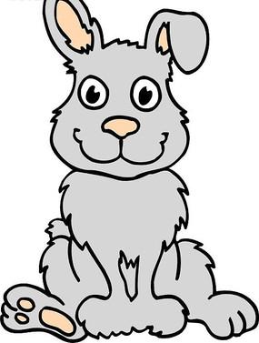 手绘蹲在地上的可爱的小兔子