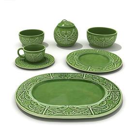 绿色调浮雕图案餐具器皿3D素材