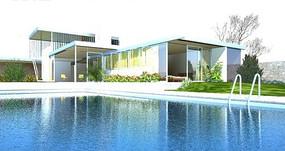 游泳中心日景效果图设计