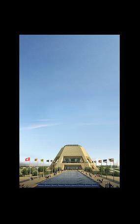 黑框里蓝天下的梯形体建筑效果图