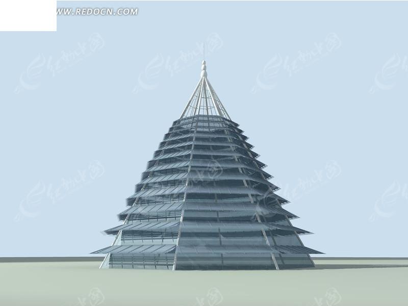 金字塔式浅蓝色城市雕塑3D效果图图片