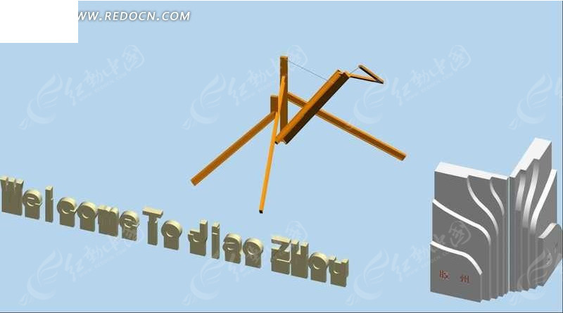 胶州城市雕塑3D效果图图片