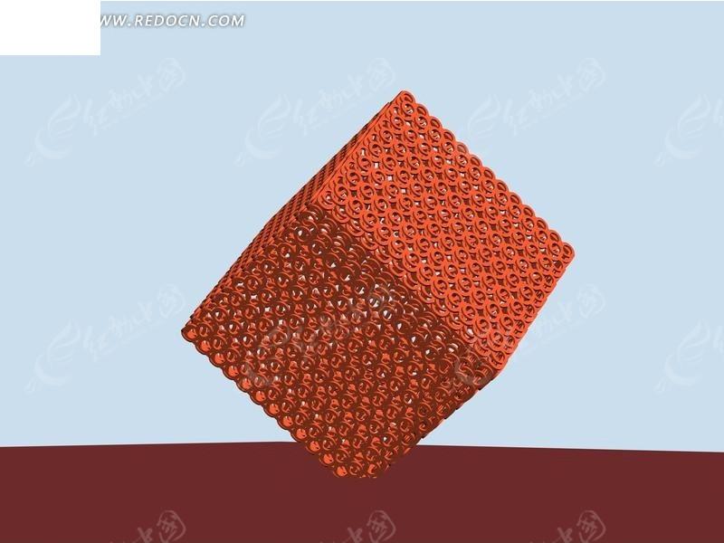 橘色点立式正方形镂空城市雕塑3D效果图图片