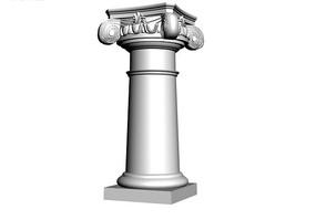 矮柱頭光滑柱身羅馬柱3D模型