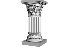 精细方顶罗马柱3D模型